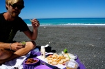 Seafood feast on the beach.